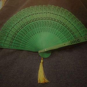Vintage Sandlewood Intricate carved Fan - Green wi